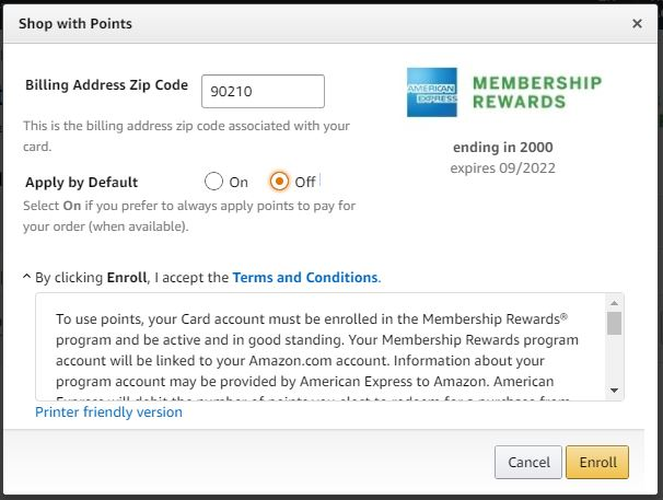 Adding the ability to use American Express Membership Rewards on Amazon