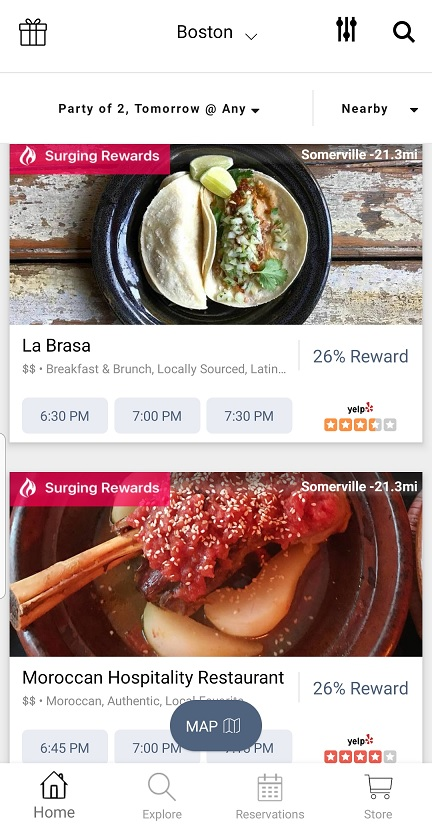 Browsing restaurants with the Seated app