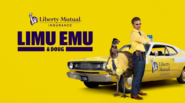Limu Emu and Doug in front of Liberty Mutual Insurance car with yellow background
