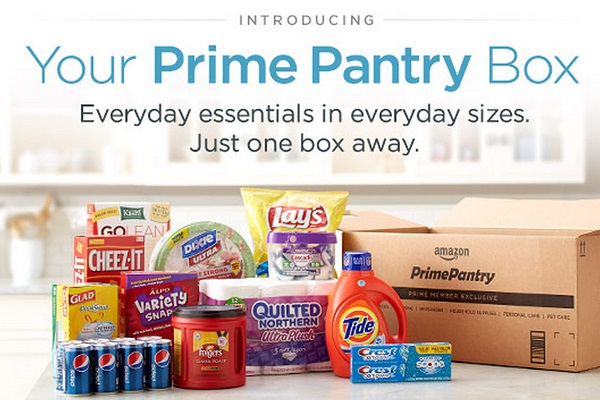 Amazon Prime Pantry introduction advertisement shown with an assortment of household goods