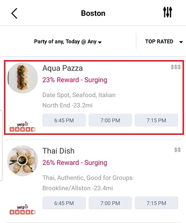 Aqua Pazza Restaurant listed on the Seated app