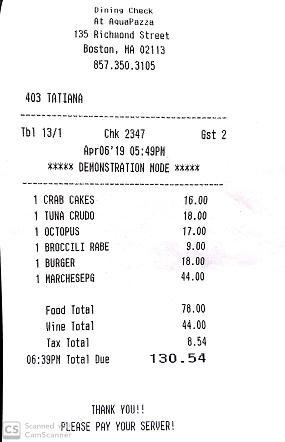 Restaurant bill at AquaPazza