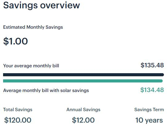 Arcadia Power one solar panel savings overview