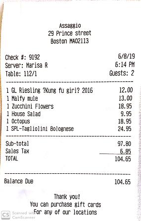 Assaggio restaurant bill