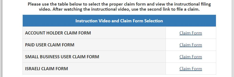 Choose claim type for Yahoo Class Action Settlement