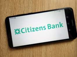 Citizens Bank logo on phone screen