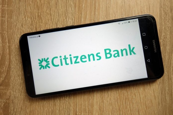 Citizens Bank logo on phone screen