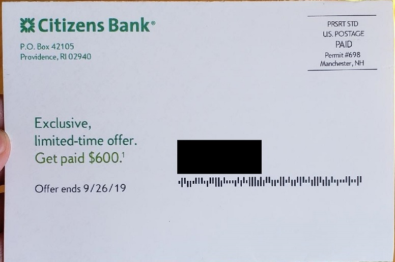 Citizens Bank mailer front