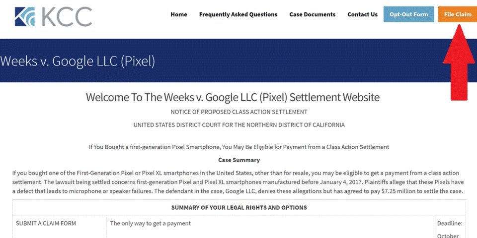 File a claim for Google Pixel Class Action Settlement