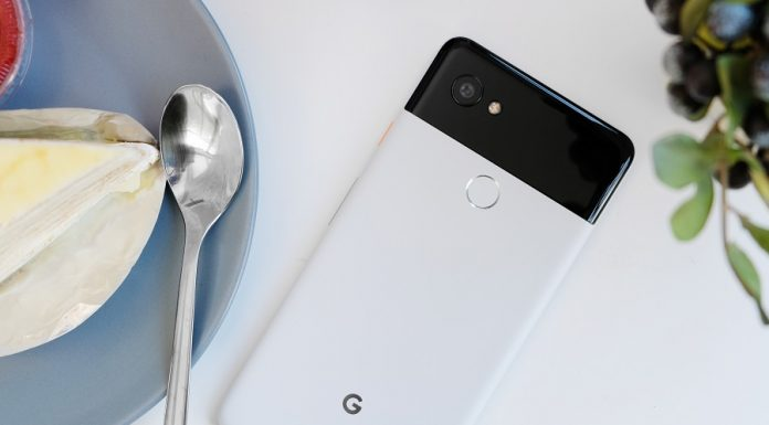 Google Pixel phone on top of white table