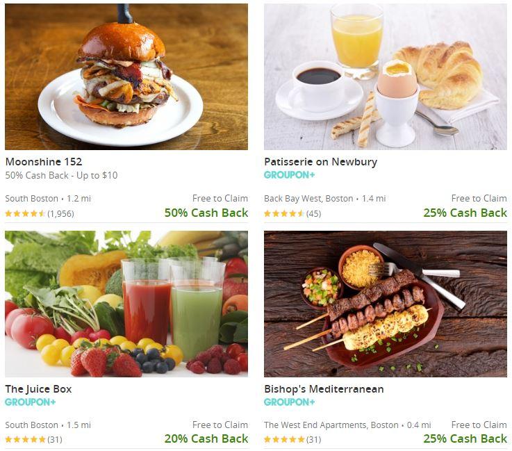 Sample of Groupon+ cash back restaurants in Boston