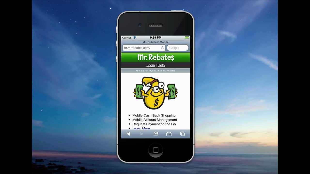 Mr. Rebates phone app in foreground with sky background