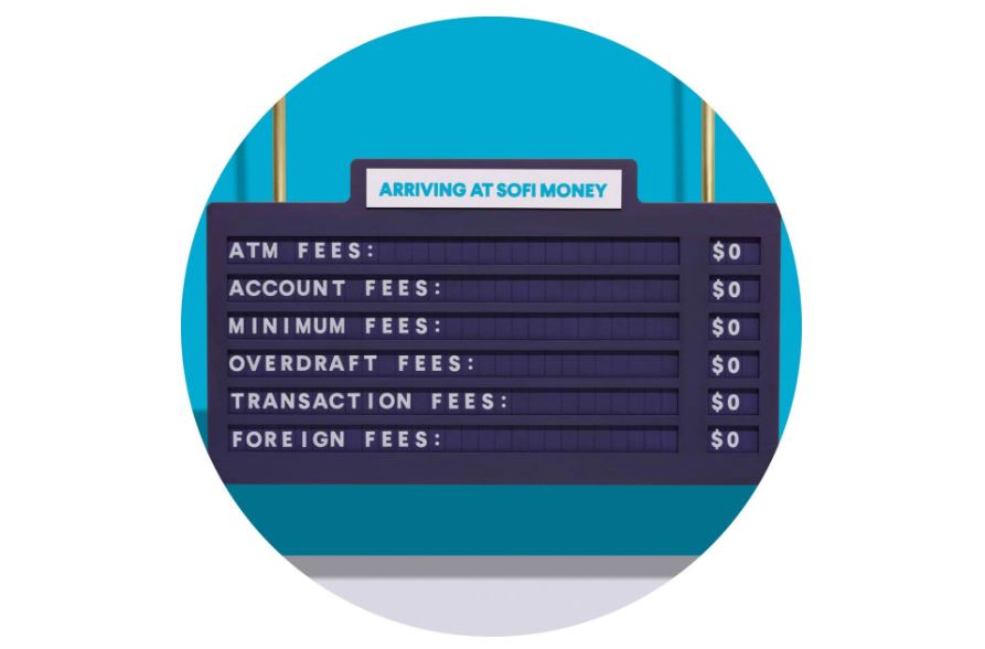 SoFi Money no fees sign