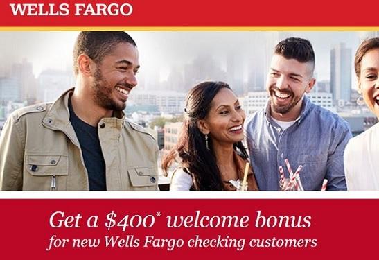 Wells Fargo $400 bank account sign-up bonus banner