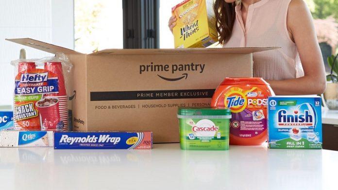 Woman unpacking an Amazon Prime Pantry box