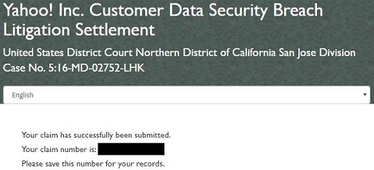 Yahoo data breach Class Action Settlement submission confirmation