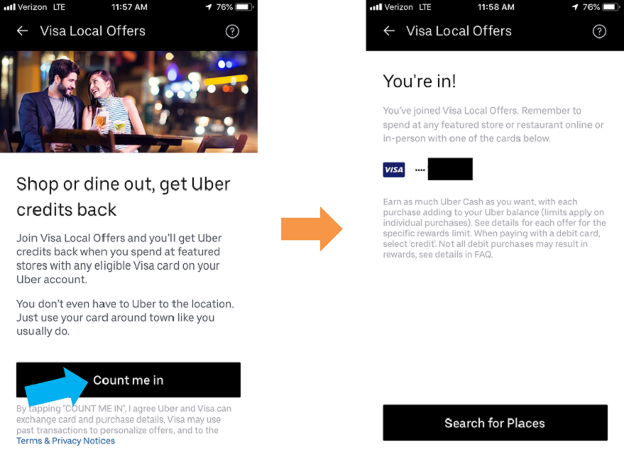 Enrolling in Visa Local Offers in Uber app