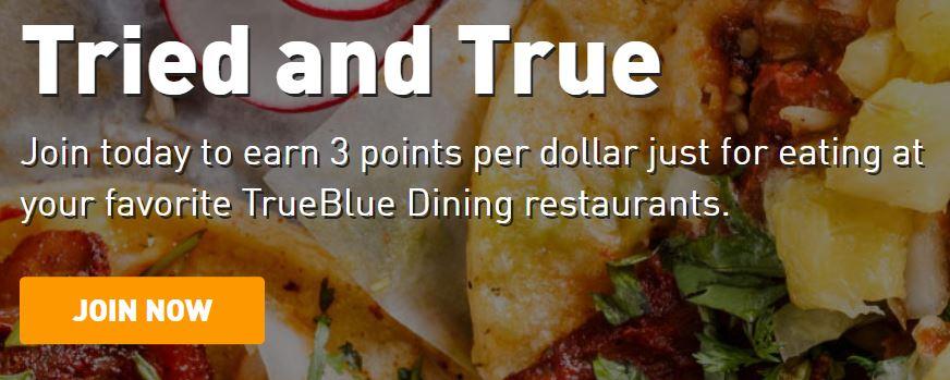 JetBlue TrueBlue Dining program sign-up bonus