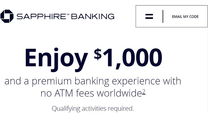Chase Sapphire Banking $1,000 bonus landing page