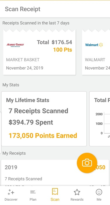 Receipt summary screen on the Fetch Rewards app