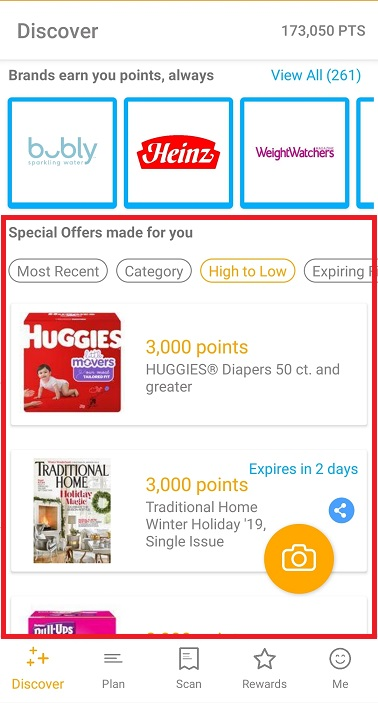 Special Offers section on the Fetch Rewards app