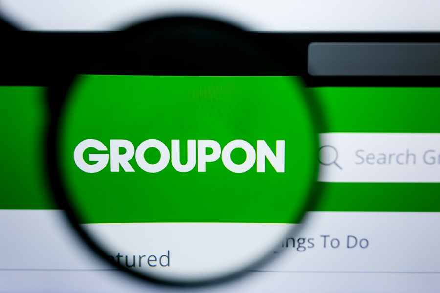 Magnified Groupon logo on company home page