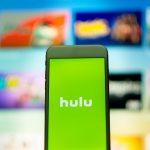 Hulu logo on phone with unfocused background