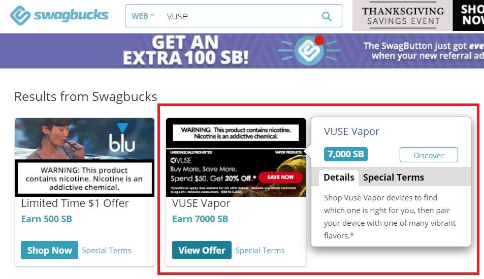 Vuse offer on Swagbucks