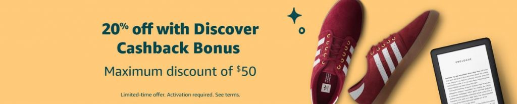 Amazon's 20% off Discover promo banner