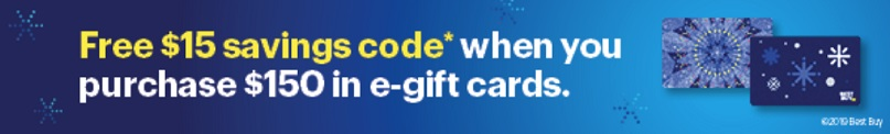 Best Buy promotion offering a free $15 savings code by purchasing $150 worth of Best Buy gift cards
