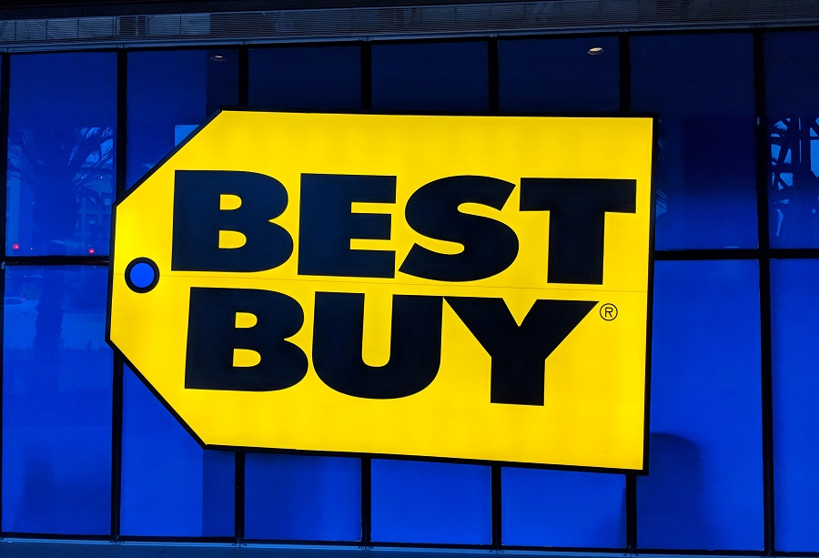 Best Buy logo in front of a blue wall