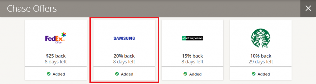 Chase Offers with Samsung offer highlighted