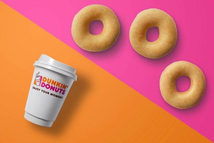 Dunkin bi-color graphic showing a cup of coffee and three donuts