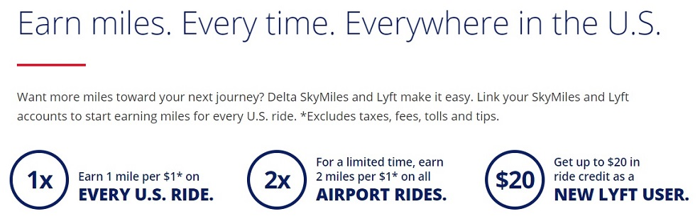 Advertisement showing you can earn Delta SkyMiles with Lyft