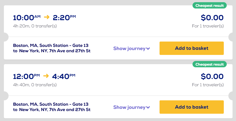 Search results that show free Megabus tickets from Boston to New York