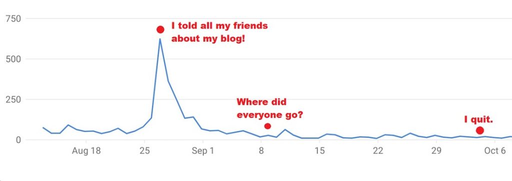 Google Analytics showing a typical blog traffic in the beginning