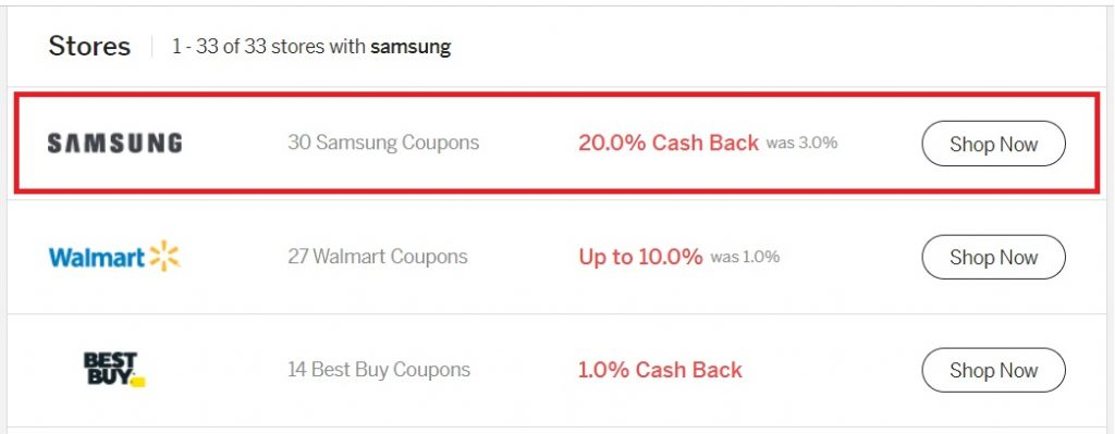 Rakuten cash back offers with Samsung offer highlighted