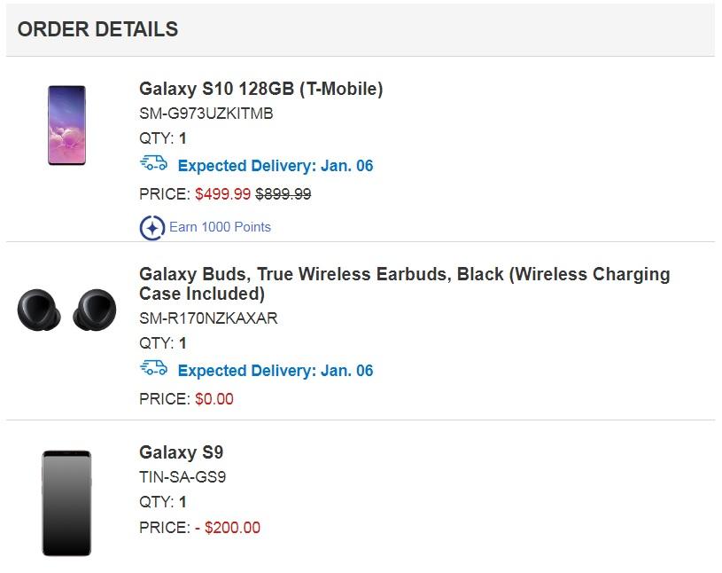 Samsung order summary