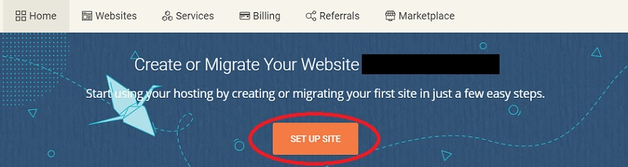 Button to click in order to set up website on SiteGround