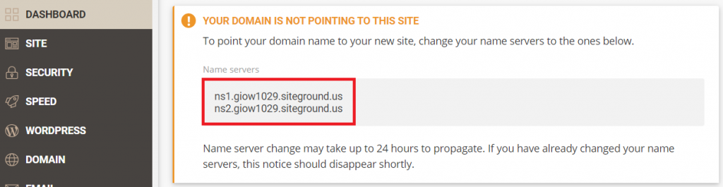 Name servers on SiteGrond