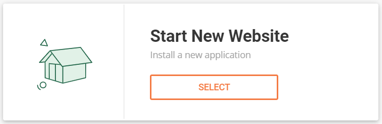 "Selecting ""Start New Website"" on SiteGround"