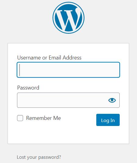 WordPress login panel