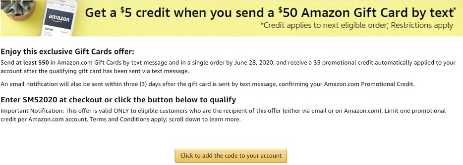 Amazon promotion: send $50 gift card by via text and get $5 free