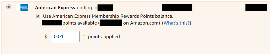 Applying 1 AMEX point to an Amazon order