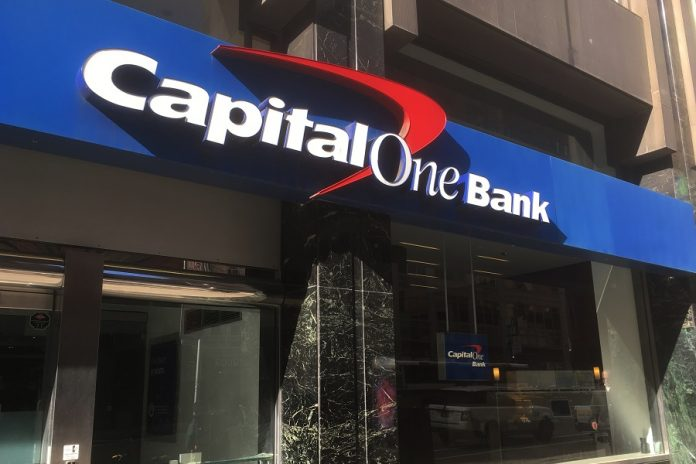 Capital One Bank sign on a building
