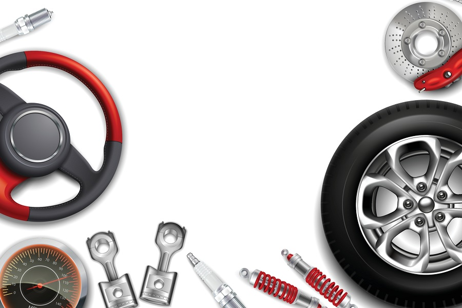 Car parts bordering a white background