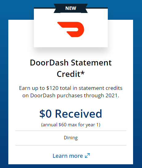 Chase Sapphire Reserve benefit of DoorDash statement credit