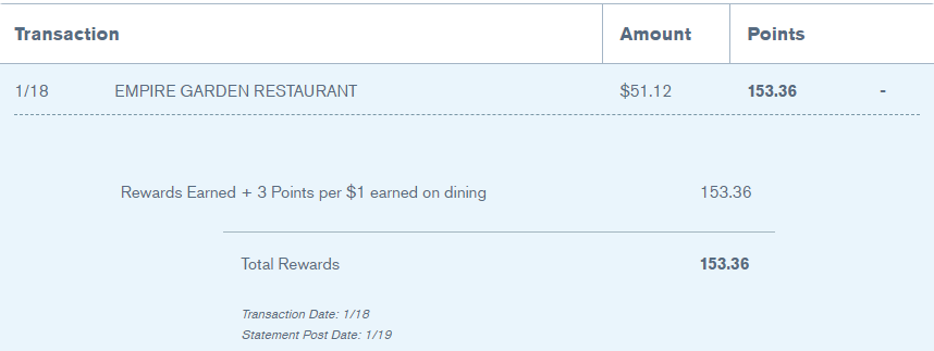 Screenshot of 3X dining bonus on the Chase Sapphire Reserve card