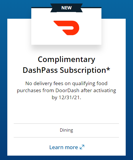 Chase Sapphire Reserve benefit of 2-year DoorDash subscription