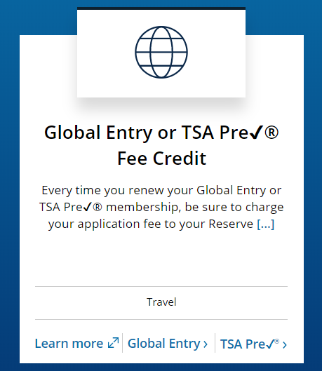 Chase Sapphire Reserve benefit of free Global Entry and TSA Pre